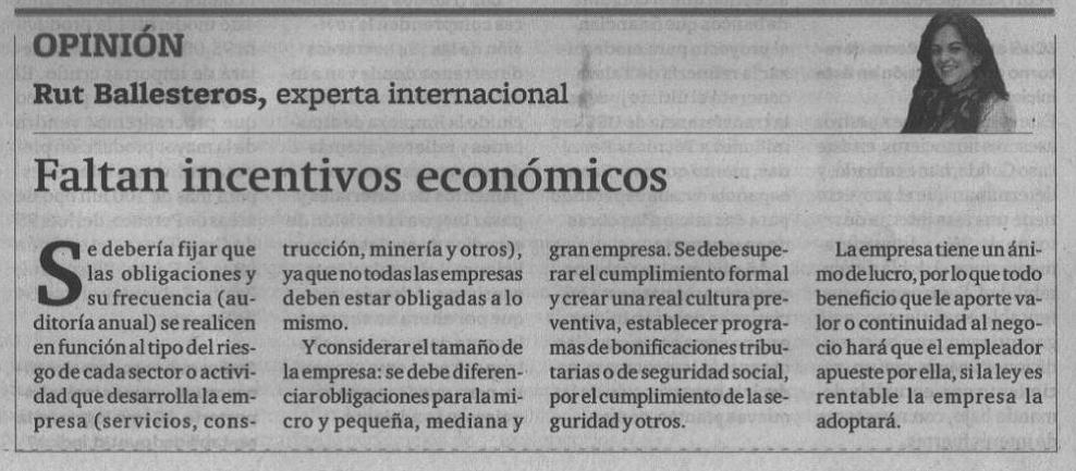 Seguridad y Salud en el trabajo: Opinión de la experta internacional Dñª Rut Ballesteros Gil